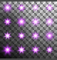 set of burst light flash glow with flare effect vector image vector image