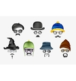 set of glasses mustache and hats vector image vector image