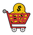 shopping cart with coins vector image