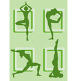 Silhouettes of Girls Doing Yoga vector image vector image