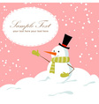 Snowman card pink vector image vector image