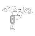 tragedy theater mask and microphone icon flat vector image vector image