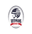 veterans day with an american flag army helmet vector image vector image