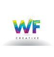 wf w f colorful letter origami triangles design vector image vector image