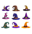 witch hats icons cartoon wizard headwear vector image vector image