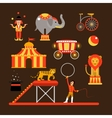 set of circus artists acrobats and animals vector image