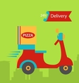 Funny pizza delivery boy riding red motor bike vector image