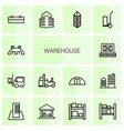 14 warehouse icons vector image vector image