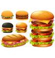 a set of hamburger on white background vector image