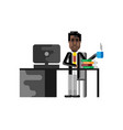 african man sitting at office desk with computer vector image