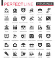 black classic insurance icons set isolated vector image vector image