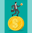 businessman is running on dollar coin vector image vector image