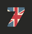 capital number seven with uk flag texture vector image vector image