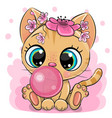 cartoon kitten with bubble gum on a pink vector image vector image