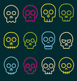 Cartoon skull icon set vector image