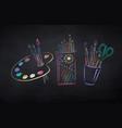 chalk drawn set artists supplies vector image vector image