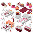chocolate manufacture isometric set vector image vector image