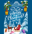 christmas sleigh with santa xmas gifts and deer vector image vector image