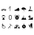 climbing mountain icons set vector image vector image