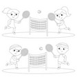 coloring children playing tennis vector image vector image