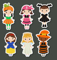 Cute cartoon children in colorful halloween