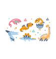 cute funny badinosaurs set adorable vector image