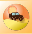 desert dunes sunset landscape off road car vector image