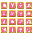 egypt travel icons set pink square vector image vector image