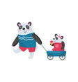 father panda pulling his baby girl in toy wagon vector image vector image