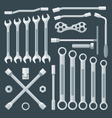 flat style various wrench set vector image vector image