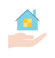 hand holding house insuranceloan bank and vector image