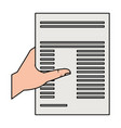 hand human with paper document isolated icon vector image