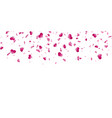 heart falling confetti isolated white background vector image
