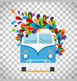 hippie flowers bus on transparent background