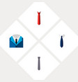 icon flat clothing set of tie tailoring shirt vector image