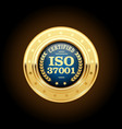 ISO 37001 - Anti-bribery management systems medal vector image vector image