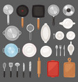 kitchen utensil kitchenware or cookware for vector image