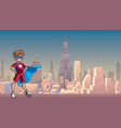 little super boy city background vector image vector image