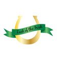 luck of the irish banner on gold horseshoe vector image vector image