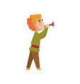 man in medieval clothes blowing trumpet vector image