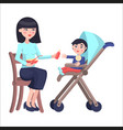 mother feeds baby boy who sits on toddler carriage vector image vector image