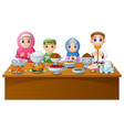 muslim family pray together before break fasting vector image vector image