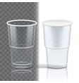 plastic cup transparent template container vector image