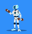 robots doing sports in gym isolated vector image vector image