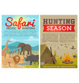 safari hunting animals and birds with hunter gun vector image vector image