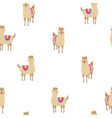 seamless pattern with cute alpacas child vector image