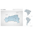 set brazil country isometric 3d map brazil map vector image