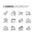 set of e-commerce and shopping line icons vector image