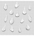 set of transparent drops of different shapes vector image