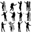set silhouettes man and woman taking selfie with vector image vector image